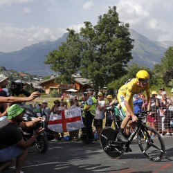 Race leader Chris Froome of Britain cycles during the individual time trial in the 18th stage of the Tour de France Thursday from Sallanches to Megeve, France.
