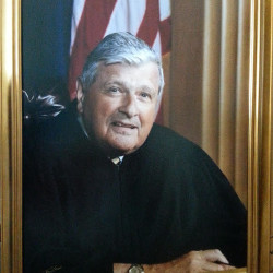 This portrait of the late U.S District Judge Morton Brody was unveiled Thursday at the Capital Judicial Center in Augusta.