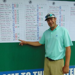 Jesse Larson of Mendon, Vermont, points to his second-round Greater Bangor Open score of 60 that tied the course record at Bangor Municipal Golf Course Friday.