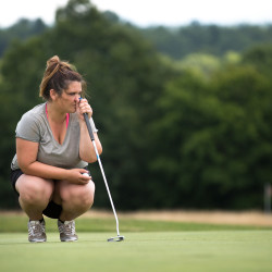 Whitney Hand, 27, plays in the Maine Women's Amateur golf tournament Tuesday at Penobscot Valley Country Club in Orono. Hand is thankful to be playing the game she loves again after a long struggle with heroin addiction that nearly took her life.