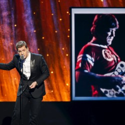 Singer Rob Thomas inducts rock band Chicago onstage during the 31st annual Rock and Roll Hall of Fame Induction Ceremony at the Barclays Center in Brooklyn, New York April 8, 2016.