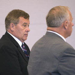 Former Washington County Sheriff Donnie Smith (left) and his attorney Don Brown of Brewer at the Penobscot Judicial Center in Bangor. Smith is charged with reckless conduct and driving to endanger in connection with a January 2015 incident in Lubec.