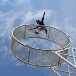 Acrobat Catalina Nock checks her equipment on Thursday while setting up for Friday's opening of the Bangor State Fair.