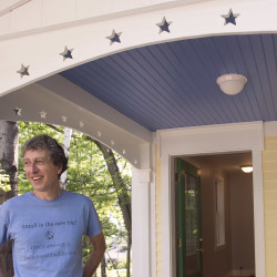 Jim Bahoosh at a house he built in Northport in 2015 and 2016. Bahoosh, of Morrill, designs and builds small houses that usually range between 500 and 900 square feet.