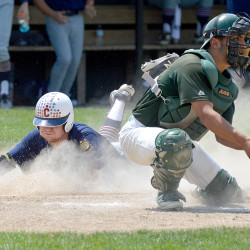 Ryan Brookings (left) of Coffee News slides into home safely while Pastime catcher Brock Belanger awaits a throw during their American Legion baseball state tournament game on Thursday at Morton Field in Augusta.