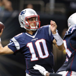 New England Patriots quarterback Jimmy Garoppolo (10) makes a throw in the second half against the New Orleans Saints at Mercedes-Benz Superdome.