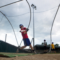 Bronco-Hermon's Zach Nash hits a ball during batting practice during practice at Bordick Park in Hampden Tuesday. Bronco-Hermon will be playing in its Senior League World Series opener Sunday.