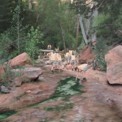 Image: Cobi Moules, Untitled (Fallen tree near LaVerkin Creek 2), oil on canvas, 21″ x 28″, 2012
