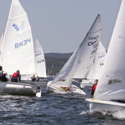 USA Junior Olympics Sailing Festival competitors negotiate the course in their 420 boats near Northeast Harbor Wednesday. About 170 competitors participated in the events held in several racing classes based on the boats and the sailors' experience level.