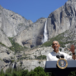 Seen here speaking about the National Park Service at Yosemite National Park, President Barack Obama is said to be considering creating a North Woods national monument east of Baxter State Park.
