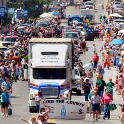 "A South Portland-based Teamsters Local 340 truck participates in the Maine Potato Blossom Festival parade in Fort Fairfield in this 2015 photo. The union set a record for donations during the 2016 Feed The County Food Drive, which benefits Catholic Charities of Maine Hunger and Relief Food Banks in The County through its ""Feed The County"" collection campaign."