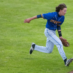 "Hermon's Mark Mailloux makes a running catch for an out against Old Town during the Class B North championship game at Mansfield Stadium in Bangor in this June 2016 file photo. Mailloux, playing for Bronco-Hermon, made a diving catch in a Senior League World Series game Sunday night at Mansfield that was shown during the Top 10 plays segment on ESPN's ""Sportscenter."""