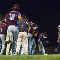 Maine District 3 celebrates after defeating U.S. West during their Senior League World Series baseball game on Tuesday at Mansfield Stadium in Bangor.