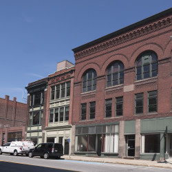 This city block on Exchange Street, which is for sale for $1.95 million, can be seen on Wednesday in Bangor.