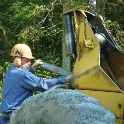 Fort Kent woodlot owner Larry Guimond prepares for a day tending his land.