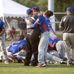The US Central team celebrates its 7-2 victory against Asia-Pacific of Melbourne, Australia, in the Senior League World Series championship game at Mansfield Stadium in Bangor on Saturday.