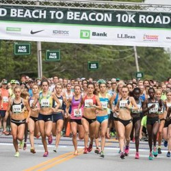 Runners in the Elite Women's division start the Beach to Beacon 10K Saturday in Cape Elizabeth.