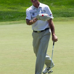 Jim Furyk reacts after shooting a PGA tour record 58 after the final round of the Travelers Championship golf tournament Sunday at TPC River Highlands in Cromwell, Connecticut.