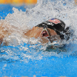 Michael Phelps of the United States competes in the 4x100 relay during the Rio Games Sunday night at Olympic Aquatics Stadium in Rio de Janeiro, Brazil.