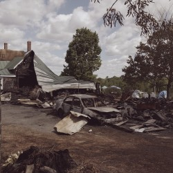 The aftermath of the Saturday afternoon fire at Rick Kidson's home. The fire took place during the 14th annual BelTek Festival, which brings hundreds of electronic music fans to his property every summer.