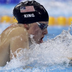 Lilly King of the United States competes in the 100-meter breaststroke final Monday night at the Olympic Aquatics Stadium in Rio de Janeiro, Brazil.
