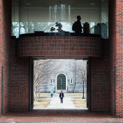 Students move about on the Bowdoin College campus in Brunswick in this March 2016 file photo.
