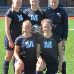 Student-athletes from Europe playing for the University of Maine women's soccer team this season include (front, from left): Vivien Bell of Germany and Kate Evans of England; and (back, from left): Beate Naglestad of Norway, Annalena Kriebisch of Germany and Riin Emajoe of Estonia.