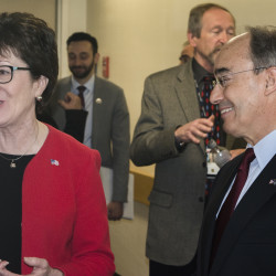 U.S. Sen. Susan Collins and U.S. Rep. Bruce Poliquin speak to members of the media in Caribou in this May 2016 file photo.