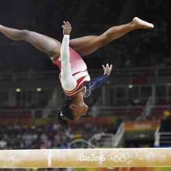 Simone Biles of the United Sates competes on the beam during the women's team gymnastics final Tuesday at Rio Olympic Arena in Rio de Janeiro, Brazil.