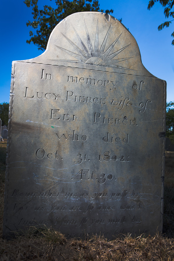 The work of Bartlett Adams, Portland's first gravestone carver, can still be seen on Lucy Pierce's marker ion the Eastern Cemetery in Portland on Monday. Adams came to Portland in 1800.