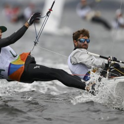 Stuart McNay and Dave Hughes of the USA compete in the 2016 Rio Olympics preliminary in sailing, men's two-person dinghy.