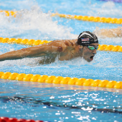 Phelps back in pool, training for 2012 Olympics