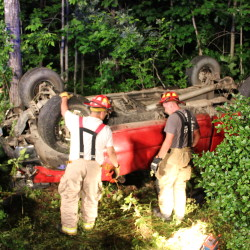 Three people, including a 16-year-old girl from Topsham, were injured Wednesday night in a single-vehicle crash on Route 138 in Bowdoin.