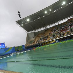 Water turns green in the diving and in the water polo pools in the Aquatics Centre.