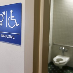 A gender-neutral bathroom is seen at the University of California, Irvine, in 2014.