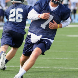 University of Maine Black Bears quarterback Dan Collins at a practice session in August 2015.