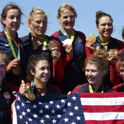 Gold medalists Emily Regan, Kerry Simmonds, Amanda Polk, Lauren Schmetterling, Tessa Gobbo, Meghan Musnicki, Ellie Logan (top, middle), Amanda Elmore and Katelin Snyder of the USA pose with their medals.