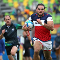 U.S. player Nate Ebner scores a try against Fiji in group stage action during the Summer Olympics at Deodoro Stadium in Rio de Janeiro, Brazil, on Aug. 10, 2016. Ebner returned to practice with the NFL's New England Patriots on Sunday.