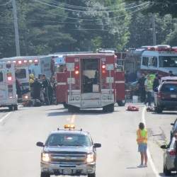 A nearly head-on collision on Route 1 in Searsport on Sunday afternoon injured three people and caused traffic on the busy coastal thoroughfare to be stopped for 45 minutes.