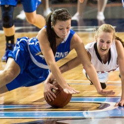 Emma Alley (left) of Stearns High School in Millinocket, pictured playing in the 2016 Class C North basketball tournament in Bangor, is among several students at the school who hope to play soccer on a cooperative team at Lee Academy. The team has secured funding for buses, fuel and drivers to be able to make the 80-mile round trip several times per week during the fall season.