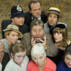 "The cast of ""Murdered to Death,"" a spoof of and homage to Agatha Christie mysteries, prepares to take the stage at Acadia Repertory Theatre in Somesville. The play runs through Sept. 4."