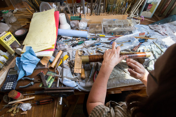 Leslie Ross works on Aug. 11 in her bassoon fabrication studio at her home near the shore of Northern Bay in Penobscot.