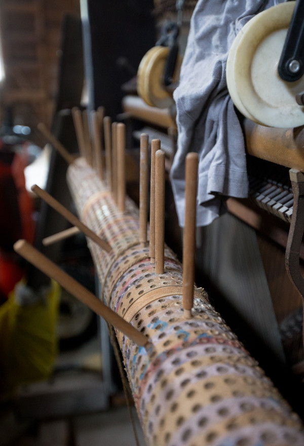The pieces of a sound installation, which is in a state of disrepair after Leslie Ross' move from New York City, can be seen on Aug. 11 in her bassoon fabrication studio at her home near the shore of Northern Bay in Penobscot.