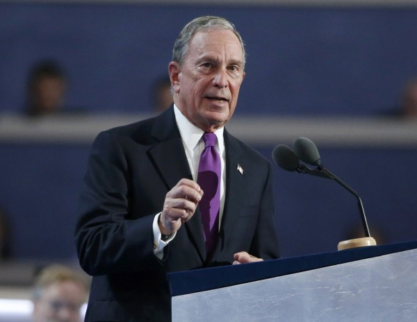 Former New York City Mayor Michael Bloomberg speaks at the Democratic National Convention in Philadelphia in July.