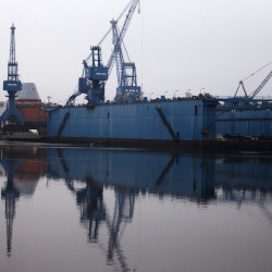 Bath Iron Works' dry dock floats on the Kennebec River in Bath in this December 2014 file photo.