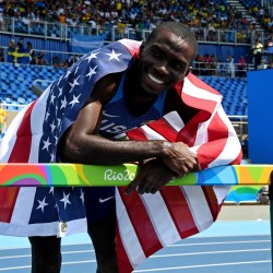 Kerron Clement celebrates winning the gold medal during the men's 400-meter hurdles in the Rio 2016 Summer Olympic Games on Thursday at Estadio Olimpico Joao Havelange in Rio de Janeiro, Brazil.