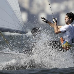 Dave Hughes, who grew up in Maine, sails with Stu McNay on Thursday during the finals of the 470 Class (dinghy) sailing event at the Summer Olympic Games in Rio De Janeiro.