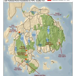 A map of properties on Mount Desert Island, Maine, that Elliotsville Plantation has donated to Acadia National Park.