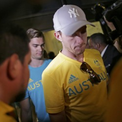 Olympic athletes from Australia leave a police station after being questioned by Brazilian police late on Friday for entering the basketball arena without proper accreditation to watch a semifinal game between Australia and Serbia, an Australian team official said.