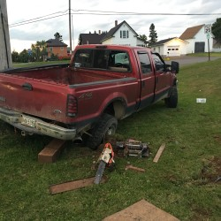 The driver of this 2002 Ford pickup was arrested on an OUI charge Saturday afternoon after he drove through an Oakfield intersection too fast, lost control of his vehicle and struck a utility pole.
